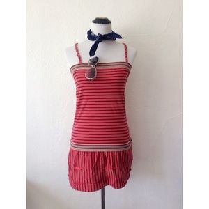 FREE PEOPLE red striped tiered halter mini dress